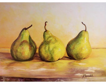Three Pears II is a print of  an original acrylic painting