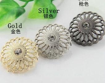 6 pcs 0.59~0.98 inch Retro Gold/Silver/Gun Hollow Rhinestone Metal Shank Buttons for Coats Sweaters