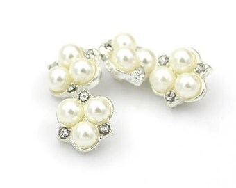 6 pcs 0.47 inch Fine White Pearl Rhinestone Metal Shank Buttons for Cardigans Sweaters