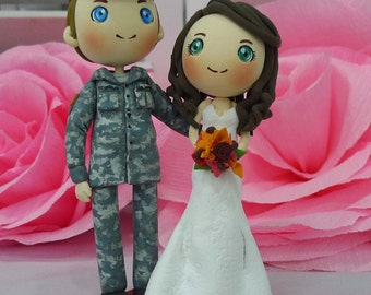 US Army ACU (Army Combat Uniform) with beautiful wife in strapless wedding gown wedding cake topper clay doll, clay figurine, clay miniature