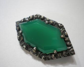 Vintage 935 Silver Theodor Fahrner Green Chrysoprase Rose Framed Pin/Brooch