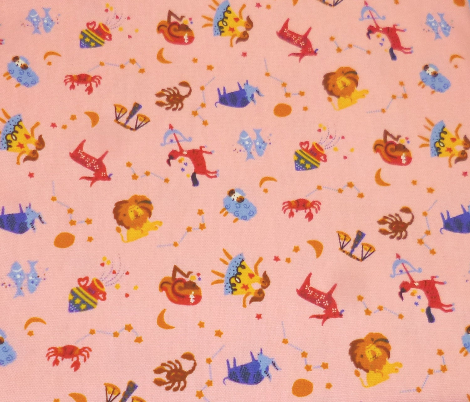 Zodiac signs japanese cotton fabric for Astrology fabric