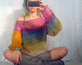 Women's Sweaters Knitwear  Loose Sweater Hippie Style Tops Grunge Clothing Purple Teal Mustard