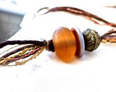 TRIBAL BEADS and THREADS Pendant, Long, Chunky, with Mohair and Decorative Yarns, Earth Goddess