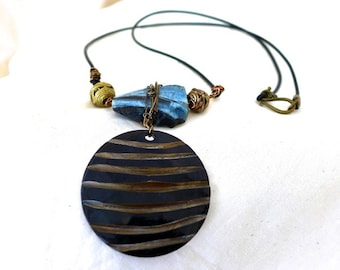 TRIBAL STONE and WIRE-Wrapped Pendant, Chunky Blue Agate, Earthy, Leather Cord