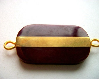 Burgundy  Plastic Pendant Connector with Gold Metal Strip  # B 17