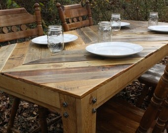 Chevron Style Reclaimed Pallet Wood Table SALE PRICE