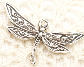 Fancy Dragonfly  Charm, Antique Silver (6) - S176