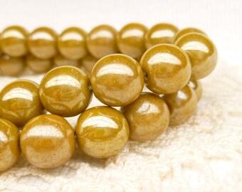 Mustard Luster  Czech Druk Beads, 8mm, (25 beads) - D8/011