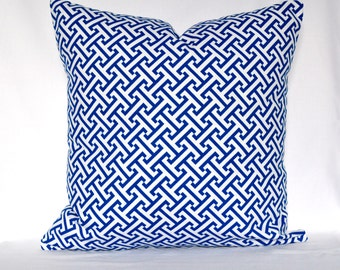 Pillows Designer Decorative Greek Key Pillow, Blue and white 18X18 inches Decorative Pillow - Throw Pillow - Waverly Blue bonnet