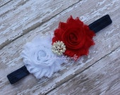 Baby flower headband - American headband - flag color headband - baby heabband flower - baby girl headbband - baby - flower band
