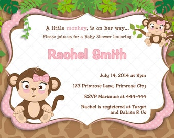 Pink Monkey Girl Baby Shower Invitation and FREE Thank You Card Printable - Pink Monkey Baby Girl Shower Invite