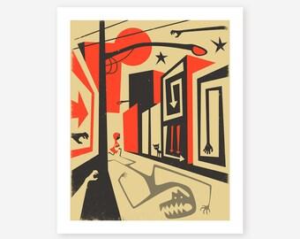 RED RIDING HOOD, Giclée Fine Art Print, Surreal Pop art by Jazzberry Blue