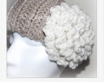 Haleigh warmer - headband pattern - chunky flower headband pattern - PDF60 - instant download
