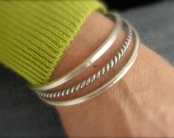 Set of 3  Sterling silver bangle bracelets
