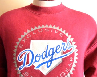 vintage 90's Los Angeles L.A. Dodgers oxblood red blue grey MLB baseball logo graphic sweatshirt men women unisex crew neck fleece pullover