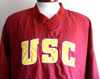 Go Trojans vintage 80's 90's USC University of Southern California red yellow gold white block letter logo graphic jacket v-neck pullover