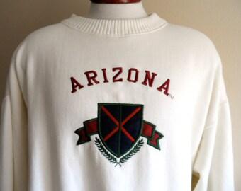Go AU Wildcats vintage 80's 90's Arizona University graphic sweatshirt cream ivory white fleece embroidered applique shield wreath crest  lo