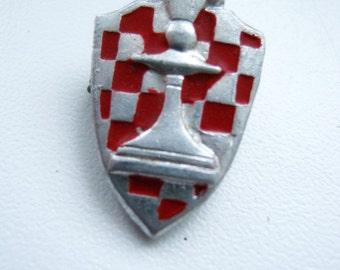 Vintage soviet union USSR chess figure pin badge