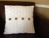 Hand knitted white pillow case, classic autumn maze pattern, pillow not included