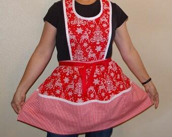 Retro Christmas Apron-Bib Style-Red and White-Size Medium