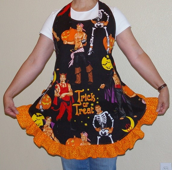 Halloween Apron - Woman's Full Apron with Ruffle-One Size