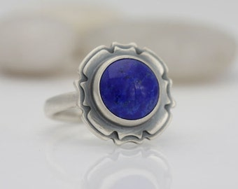 Lapis ring, size 8 3/4 lapis lazuli and sterling silver ring, #538.
