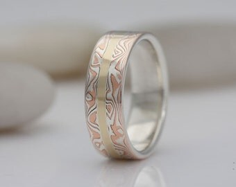 Mokume gane band, silver, copper and gold, size 7 1/2, #540.
