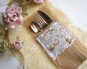 Burlap Flatware holders for weddings, Wedding Table Setting,Rustic Flatware Pockets