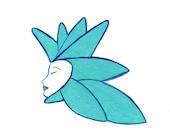 Flower Gift Cards - Aqua Art Deco Style Flower Lady