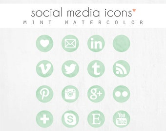 "social media icons + ""pin it"" button: MINT WATERCOLOR"
