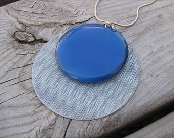 JEWELRY SALE-Silver and Blue Cat's Eye Layered Pendant Necklace- LARGE Pendant