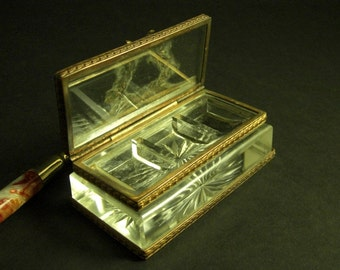 1800s Cut Glass Stamp Box Sarcophagus // Fine Ormolu Mounts // from Successionary