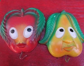 Vintage Chalkware Apple and Pear Pot Holders