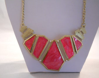SALE Bib Necklace with Gold Tone and Pink Pendants on a Gold Tone Chain