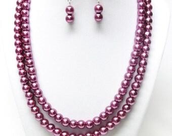 Two Strand Purple Glass Pearl Necklace & Earrings Set