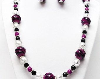 Dark Fuchsia w/Black Lamp-work Glass Bead Necklace & Earrings Set
