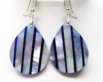 Blue & Silver Mother of Pearl Shell Earrings
