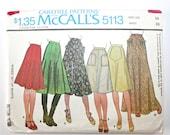 Vintage 1970s Hippie Skirt / 70s Flared & A Line Skirt McCalls 5113 Sewing Pattern Gored Skirt / Boho Maxi Skirt / Waist 28 Inches