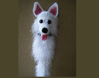 Hand knit American Eskimo dog golf club cover golf sock made to order