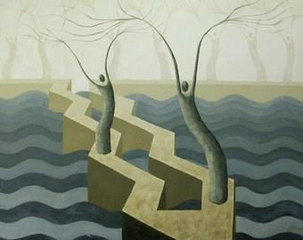 Slate Blue Breakwater Surreal Seascape Painting, Home Decor, Breakwater Painting, Blue Seascape