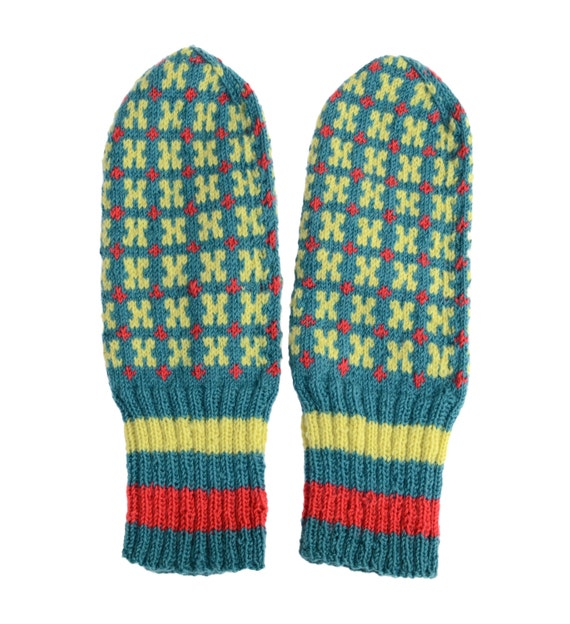 Estonian Muhu Mittens in Green, Yellow and Red