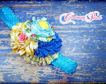 Blue, Yellow, Green Headband, Turquoise, Mustard Fabric Flower Hair Accessory, Hair Clip, Hair Piece, Baby Headband, Aqua Flower Headband