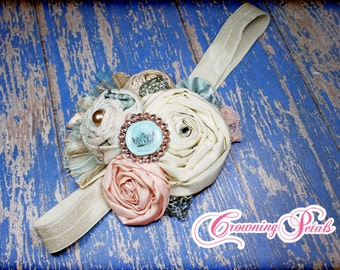Aqua, Turquoise, Peach, Cream Headband, Flower Hair Accessory, Fabric Flower Hair Clip, Floral Brooch, Infant Hair Bow, Flower Headband