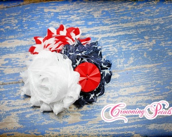July 4th Hair Bow, Red, White, Blue Hair Accessory, Navy Flower Hair Piece, Shabby Flower Hair Clip, Patriotic, Infant, Toddler Photo Prop