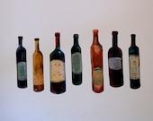 Wine Bottle  Decals (Safe for walls!)