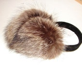 EM-5 Genuine Raccoon Brown Fur Earmuffs  great gift and fashionable accessory for yourself (Adult or Child size you pick)