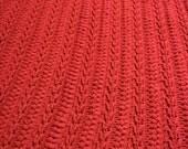 Crochet Afghan Blanket Throw Burgundy Red Texture  Handmade Littlestsister