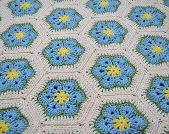 SALE Crochet Afghan Blanket  Aqua Turquoise Blue  Yellow Green White African Flower Granny Square Handmade Littlestsister