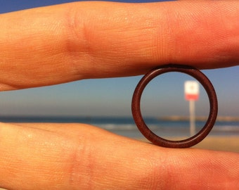 Hand carved thin redwood ring \\ wooden band \\ rosewood \\ man \\ woman \\ custom made \\ all sizes